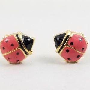 Pink Enamel Ladybug Pierced Earrings 14k Gold